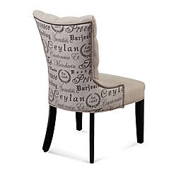 Bassett Mirror Company Fortnum Linen Tufted Nailhead Parsons Dining Chair in Script Print