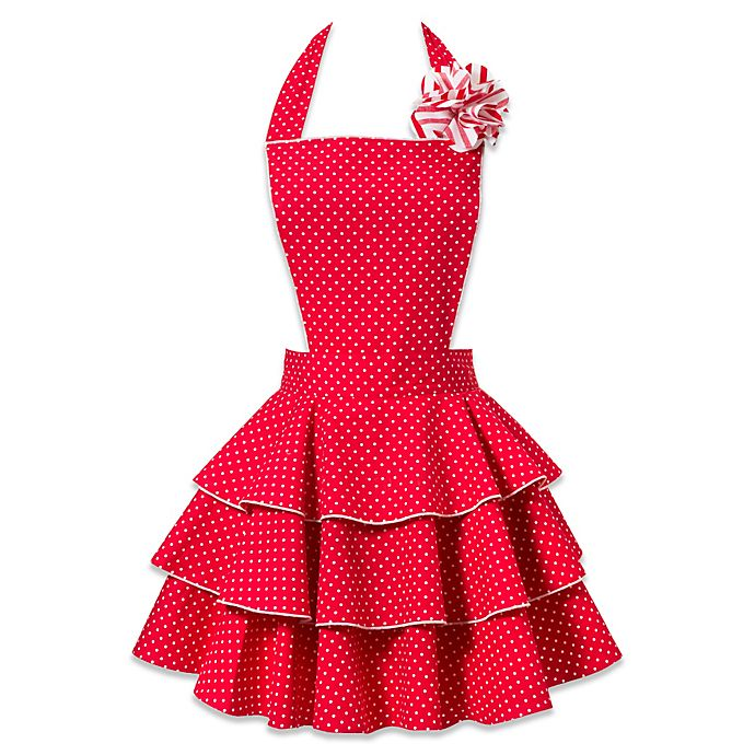Alternate image 1 for Carolyn's Kitchen Petite Dot Party Apron in Red