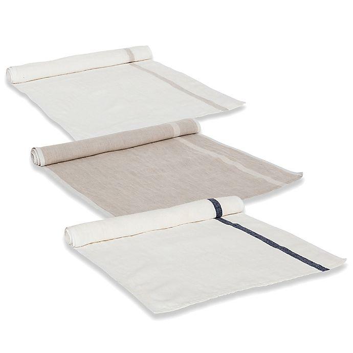 Alternate image 1 for Couleur Nature Laundered Linen Table Runner