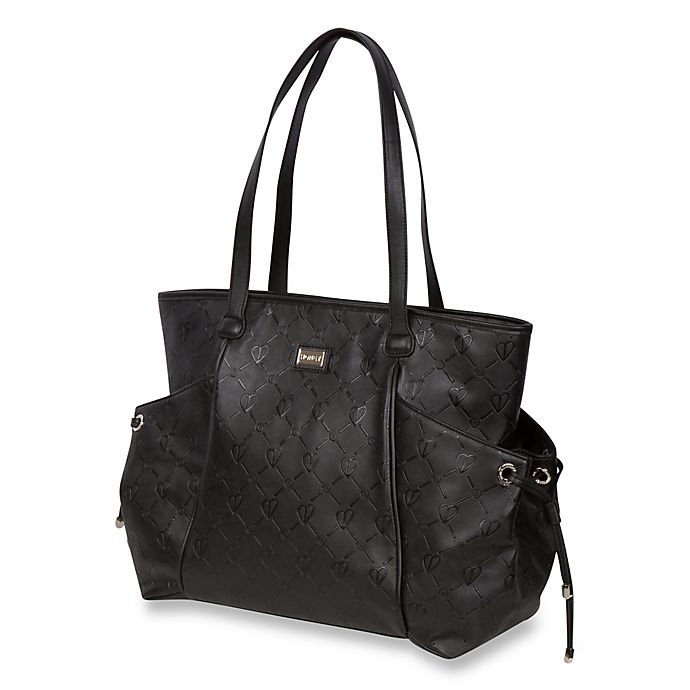 Alternate image 1 for The Bumble Collection™ Embossed Tote Diaper Bag in Black