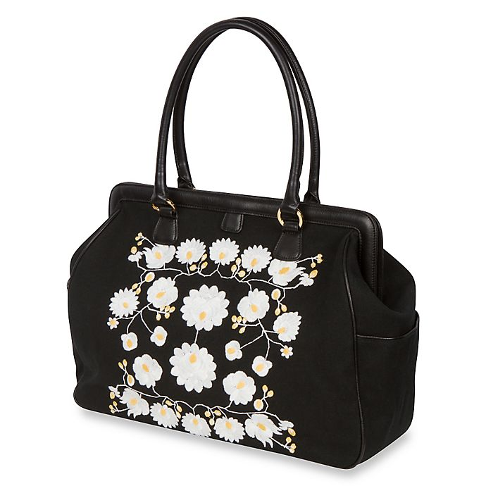 Alternate image 1 for The Bumble Collection™ Embossed Flora Frame Diaper Bag in Black