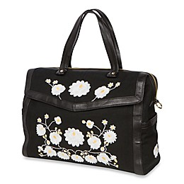 The Bumble Collection™ Embossed Flora Satchel Diaper Bag in Black