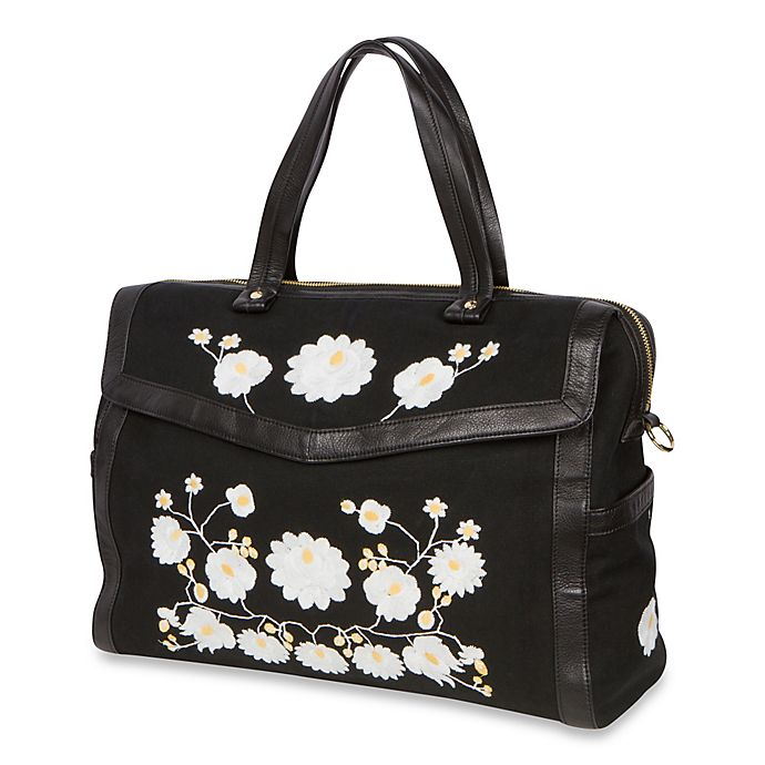 Alternate image 1 for The Bumble Collection™ Embossed Flora Satchel Diaper Bag in Black