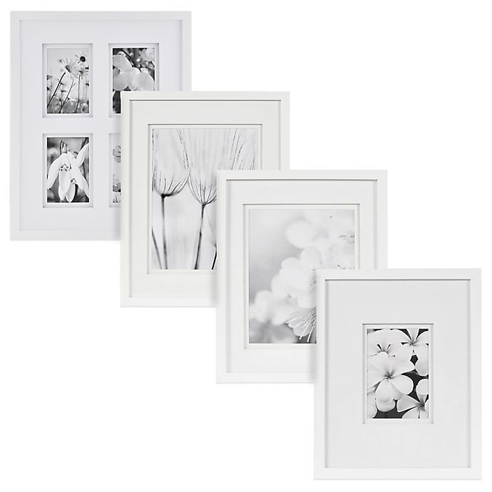 Alternate image 1 for Real Simple® White Wood Wall Frame with White Double Mat