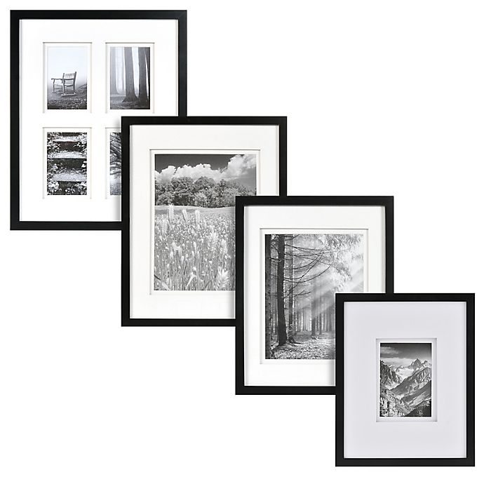 Alternate image 1 for Real Simple® Black Wood Wall Frame with White Double Mat