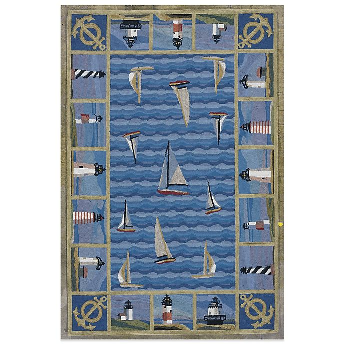 Alternate image 1 for KAS Colonial Lighthouses Rug in Blue