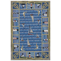 KAS Colonial Lighthouses Rug in Blue