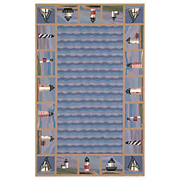 KAS Colonial Lighthouse Waves Rug in Blue