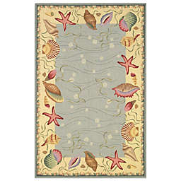 KAS Colonial Ocean Surprise Indoor Rug in Blue/Ivory