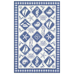 KAS Colonial Nautical Panel Indoor Rug in Blue/Ivory