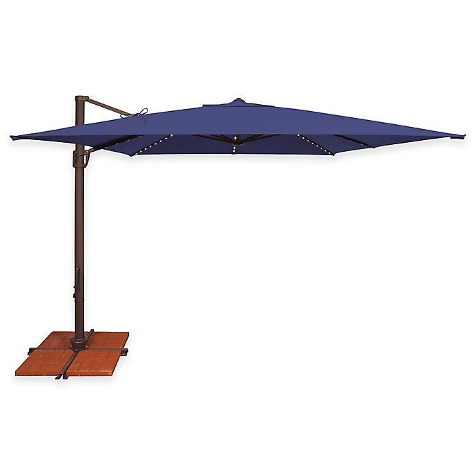 Alternate image 1 for SimplyShade® Bali Pro 10-Foot Square Cantilever Aluminum Umbrella with Star Lights