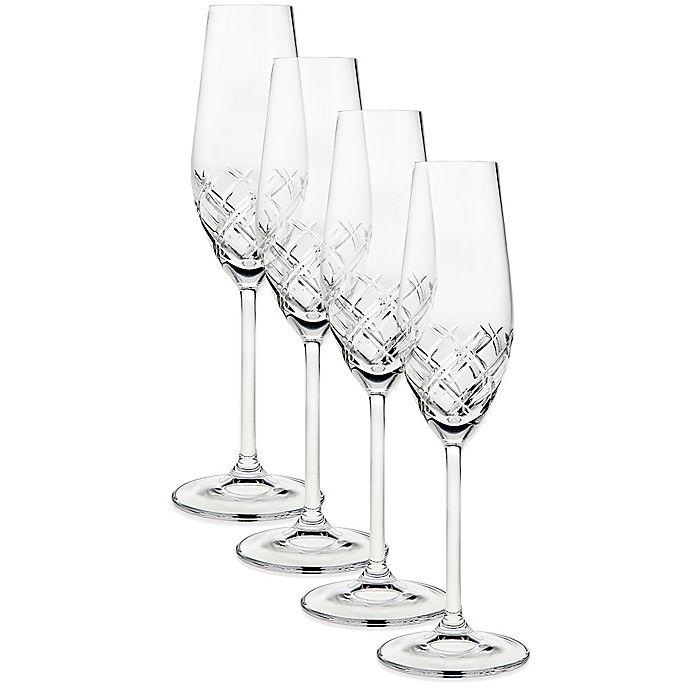 Alternate image 1 for Top Shelf Bevel Crystal Toasting Flutes (Set of 4)