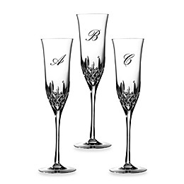 Waterford® Lismore Essence Script Letter Monogram Champagne Flutes (Set of 2)