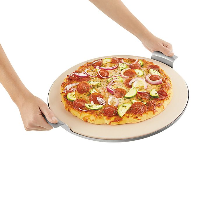 Alternate image 1 for Pizzacraft™ 15-Inch Round Pizza Stone with Solid Stainless Steel Tray