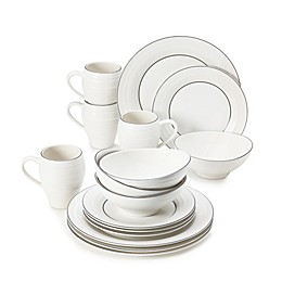 Mikasa® Swirl 16-Piece Graphite Banded Dinnerware Set in White