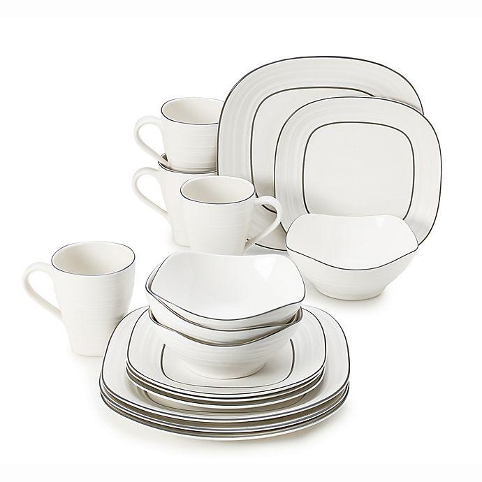 Alternate image 1 for Mikasa® Swirl 16-Piece Graphite Banded Square Dinnerware Set in White