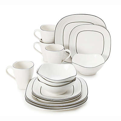 Mikasa® Swirl 16-Piece Graphite Banded Square Dinnerware Set in White