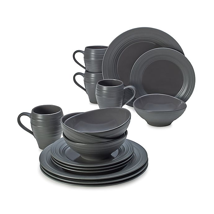 Alternate image 1 for Mikasa® Swirl Graphite 16-Piece Dinnerware Set