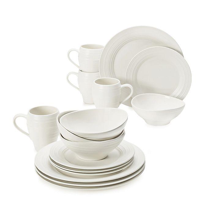 Alternate image 1 for Mikasa® Swirl White 16-Piece Dinnerware Set
