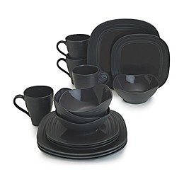 Mikasa® Swirl Square 16-Piece Dinnerware Set in Graphite