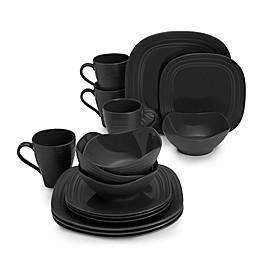 Mikasa® Swirl 16-Piece Square Dinnerware Set in Black