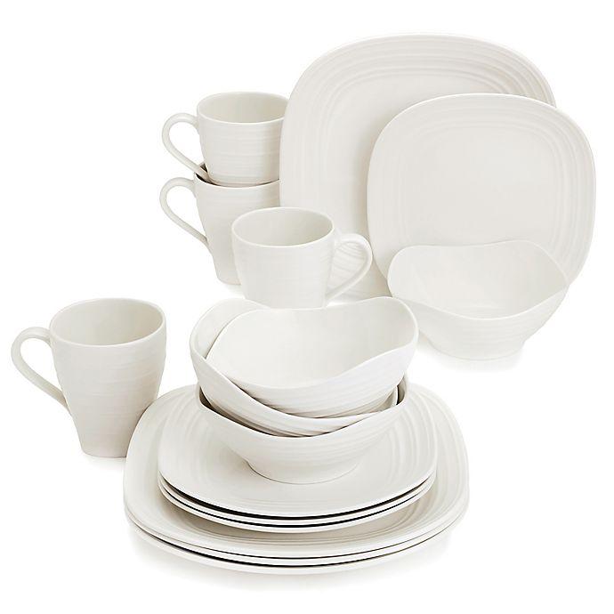 Alternate image 1 for Mikasa® Swirl Square White 16-Piece Dinnerware Set