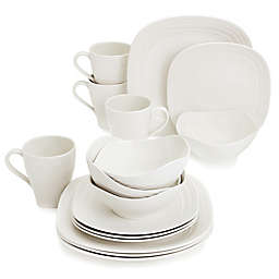 Mikasa® Swirl Square White 16-Piece Dinnerware Set