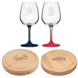 Major League Baseball (MLB) Wine Glasses, Cheese Boards and Bamboo Cutting Boards Collection
