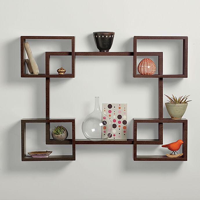 Alternate image 1 for Real Simple® 5-Piece Interlocking Decorative Rectangle Shelf Set in Espresso