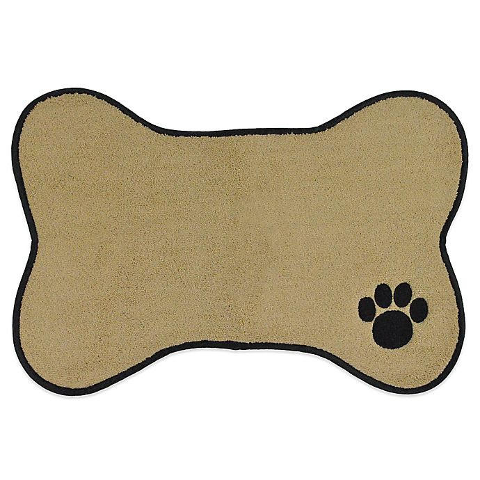 Alternate image 1 for Paw Embroidered Pet Mat in Taupe