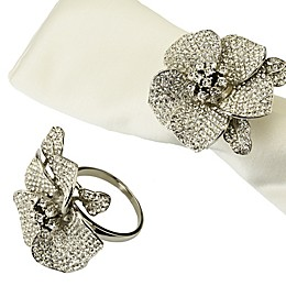 Classic Touch Silvertone Jeweled Flower Napkin Rings (Set of 4)