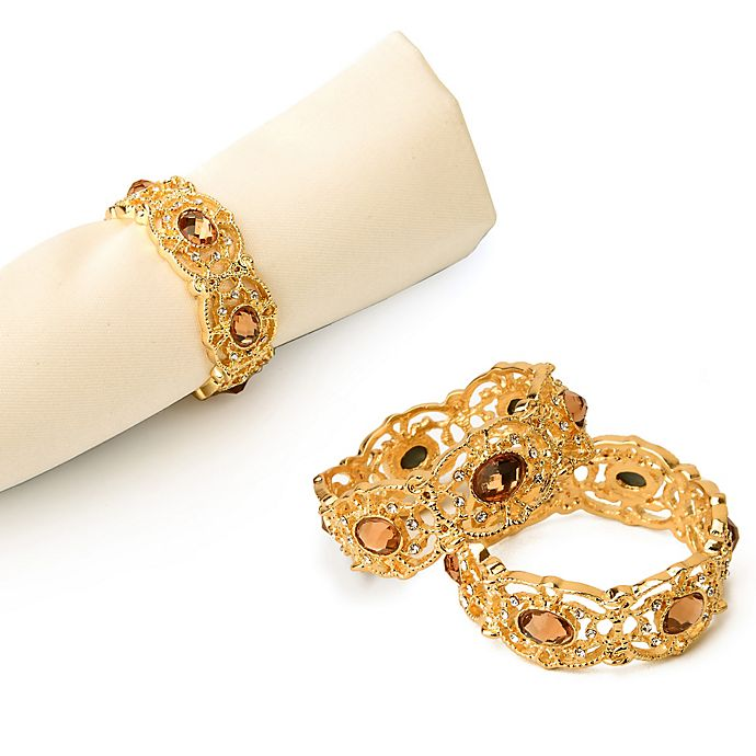 Alternate image 1 for Classic Touch Goldtone Jeweled Napkin Rings (Set of 4)