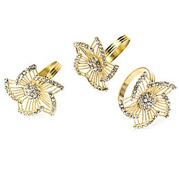 Classic Touch Tervy Leaf Brass Napkin Rings in Gold (Set of 4)