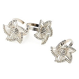 Classic Touch Tervy Leaf Brass Napkin Rings in Silver (Set of 4)