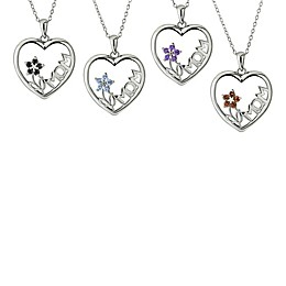 """Sterling Silver Gemstone Flower """"Mom"""" Heart 18-Inch Chain Pendant Necklace"""