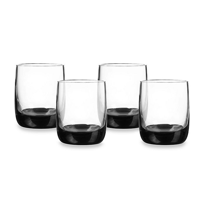 Alternate image 1 for Qualia Ebony Double Old-Fashioned Glasses in Clear/Black (Set of 4)