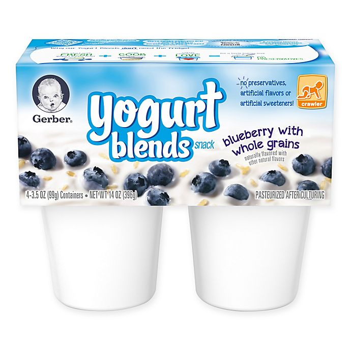 Alternate image 1 for Gerber® 3.5 oz. Yogurt Blends Snack 4-Pack Blueberry With Whole Grains