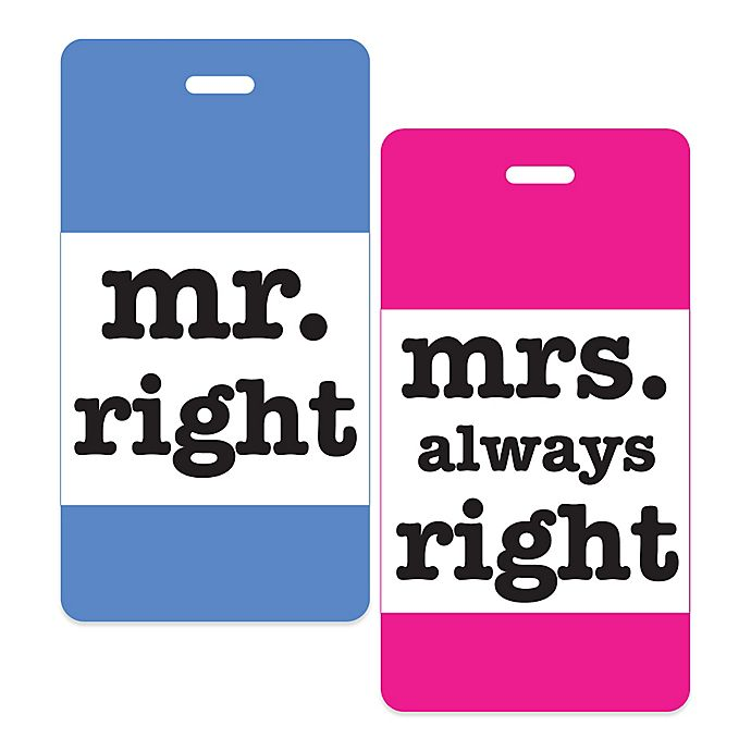 Alternate image 1 for Mr. Right & Mrs. Always Right 2-Piece Luggage Tag Gift Set