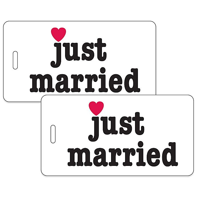 Alternate image 1 for Just Married 2-Piece Bag Tag Gift Set