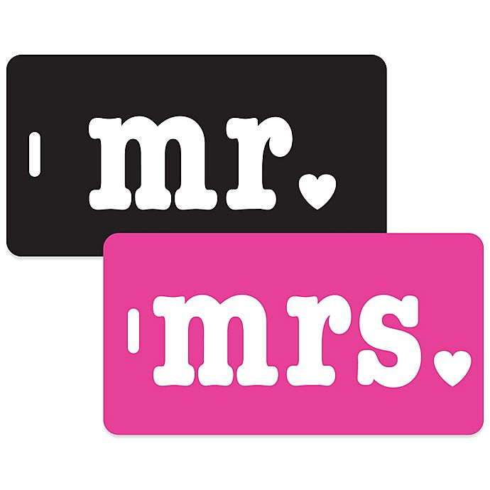 Alternate image 1 for Mr. & Mrs. 2-Piece Bag Tag Gift Set