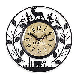 Sterling & Noble 15.5-Inch Wrought Iron Lodge Wall Clock