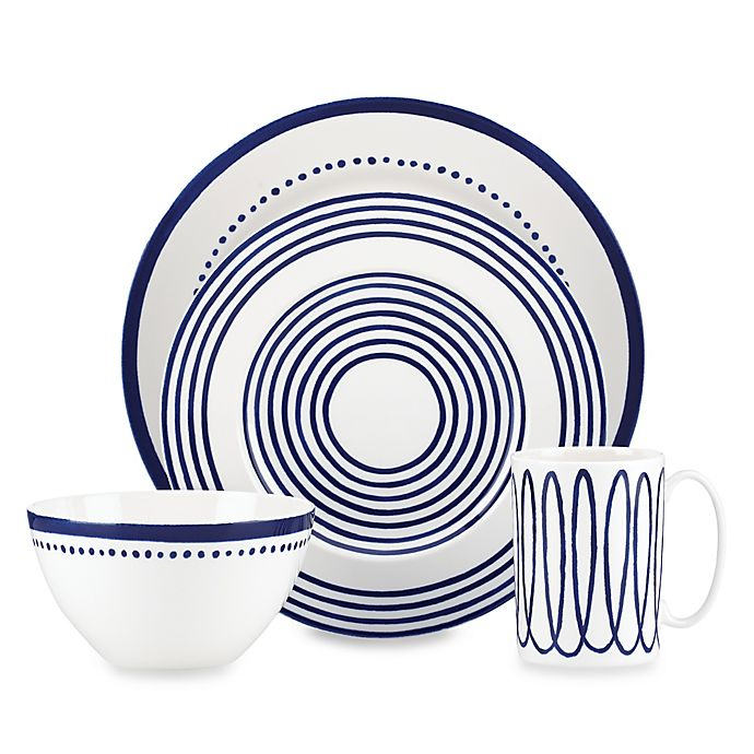 Alternate image 1 for kate spade new york Charlotte Street™ West 4-Piece Place Setting in Indigo
