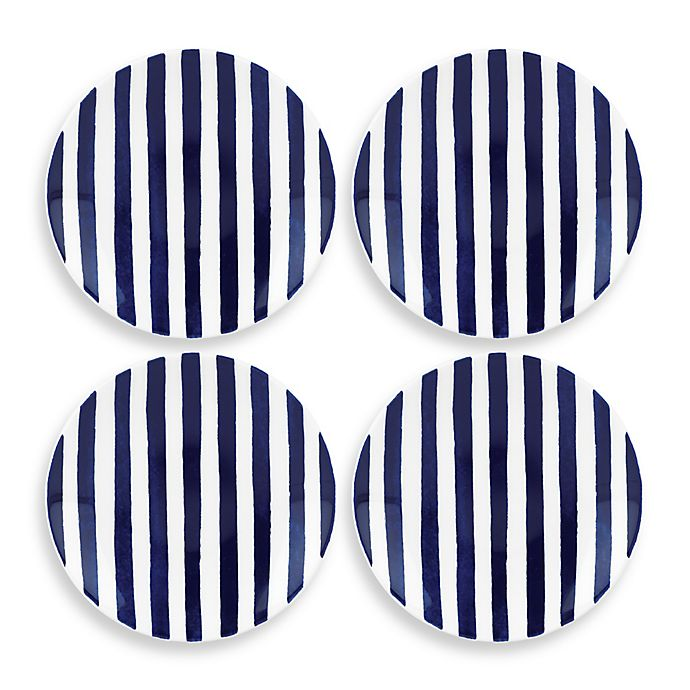 Alternate image 1 for kate spade new york Charlotte Street™ Tidbit Plates (Set of 4) in Indigo