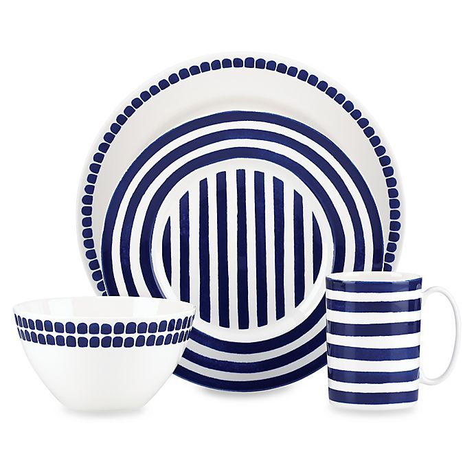 Alternate image 1 for kate spade new york Charlotte Street™ North 4-Piece Place Setting in Indigo