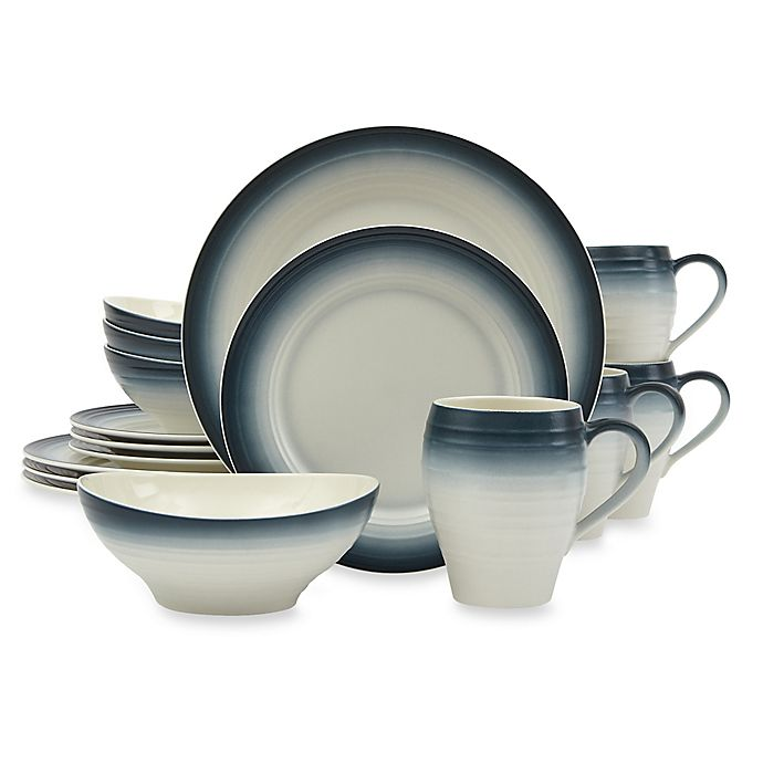 Alternate image 1 for Mikasa® Swirl Ombre 16-Piece Dinnerware Set in Blue
