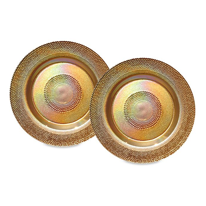 Alternate image 1 for Dale Tiffany Glass Charger Plates in Gold (Set of 2)