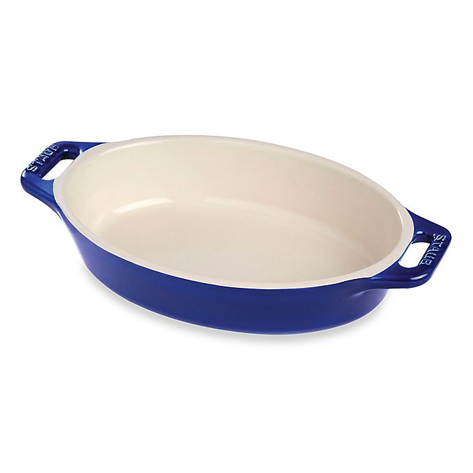 Alternate image 1 for Staub 14.5-Inch Oval Baking Dish in Dark Blue