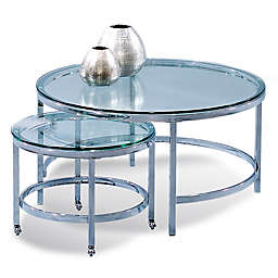 Bassett Mirror Company Patinoire Cocktail Table in Polished Chrome (Set of 2)