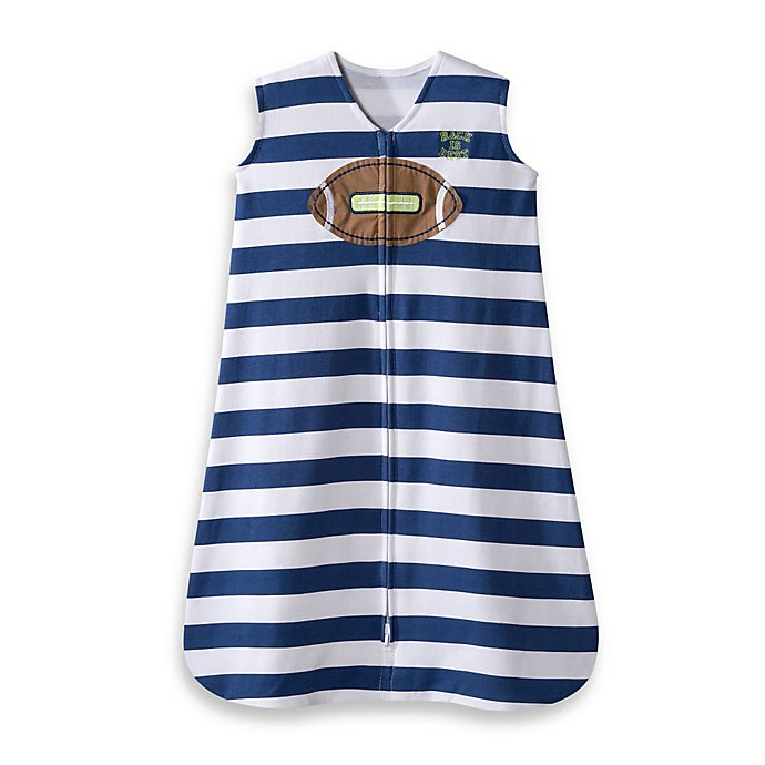 Alternate image 1 for HALO® SleepSack® Cotton Wearable Blanket in Navy Football