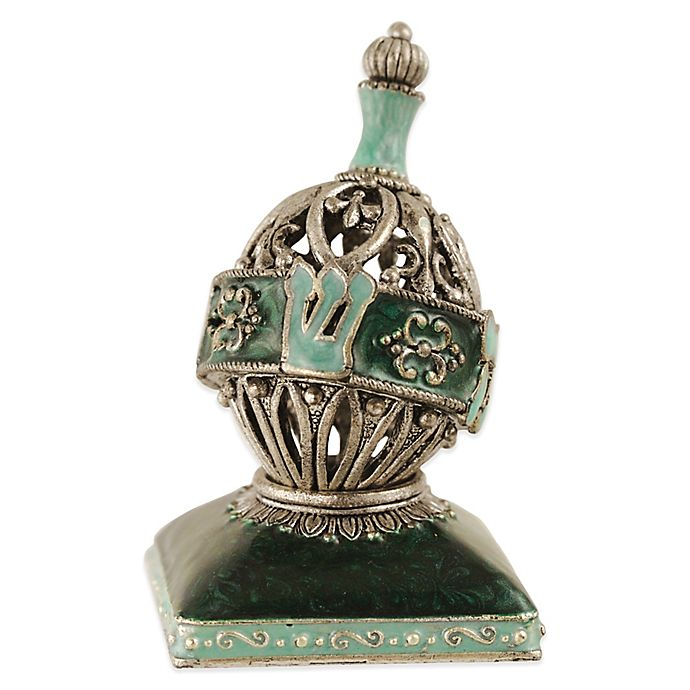 Alternate image 1 for Quest Collection Aqua Oval Dreidel with Stand